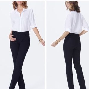 Nydj marilyn straight black career slim jeans